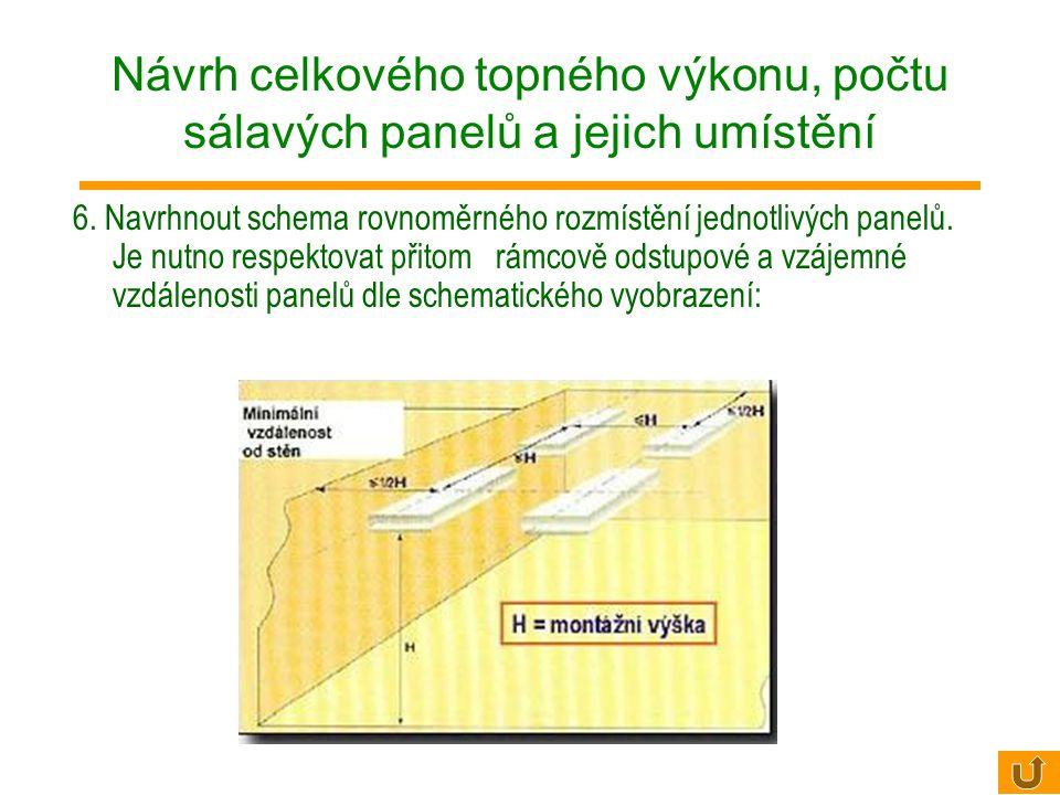 4. Stanovit minimální počet topných jednotek n pro vytvoření homogenního zářivého pole n> S/H2 H.......... předpokládaná výška instalace [m] Větší poč
