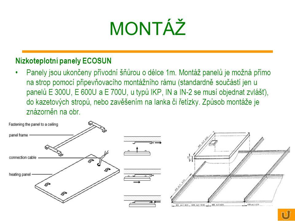 Použití zonálního vytápění sálavými panely ECOSUN - podlaha alespoň minimálně tepelně izolovaná, pokud ne, zajistit kvalitní izolaci vůči vlhkosti u n
