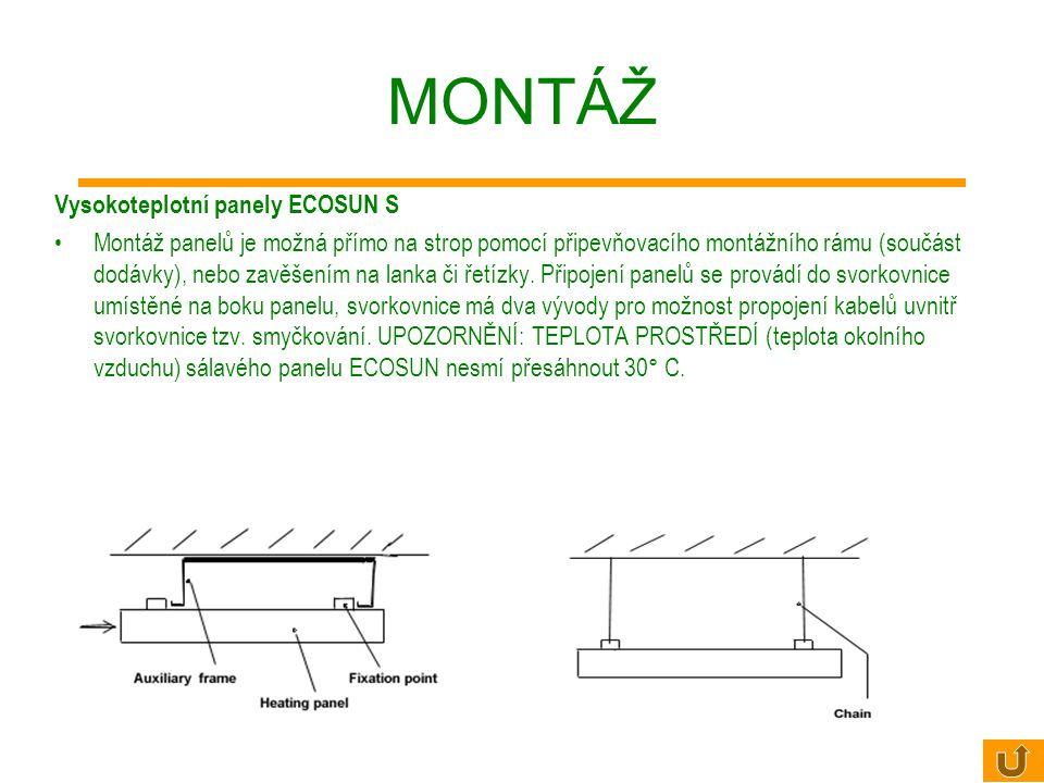 MONTÁŽ Nízkoteplotní panely ECOSUN Panely jsou ukončeny přívodní šňůrou o délce 1m. Montáž panelů je možná přímo na strop pomocí připevňovacího montáž