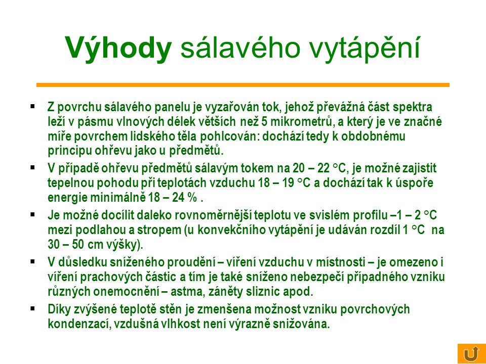 Sálavost tělesa (intenzita vyzařování) Čím je vyšší teplota sálavé plochy, tím je větší vyzářený výkon ( W )
