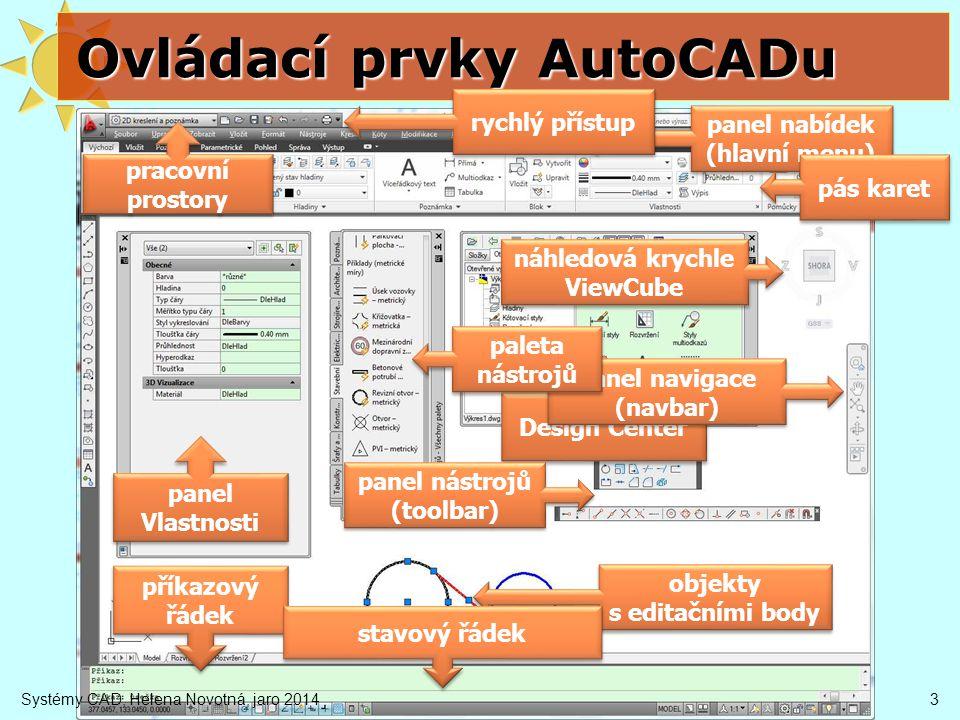 4 Ovládací prvky AutoCADu hlavní menu = panel nabídek (příkazy) karty s panely nástrojů (tlačítka) přepínání karet – záložky 3 možnosti velikosti vypnutí – (menu Nástroje / Palety) nástrojové lišty zobrazení (menu Nástroje / Panely nástrojů) pokud nějakou mám – kontext na lištou palety nástrojů zapnutí – Ctrl+3 (menu Nástroje / Palety) příkazový řádek zapnutí / vypnutí (Ctrl+9) menu Nástroje / Příkazový řádek karta Zobrazení pracovní prostor