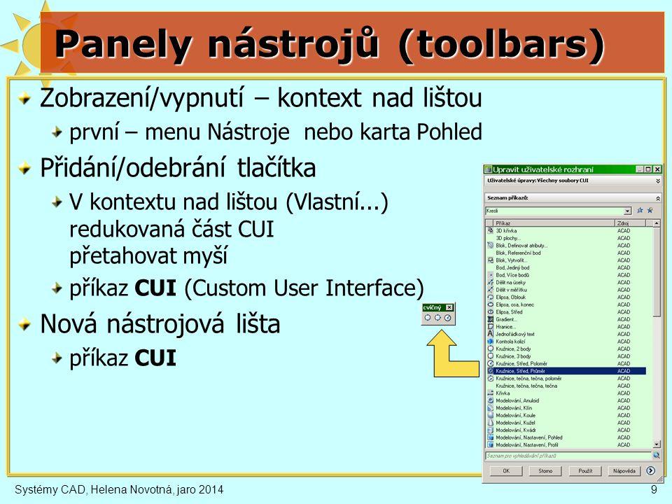 Systémy CAD, Helena Novotná, jaro 201410 Uživatelské rozhraní (CUI) Uživatelské rozhraní obsahuje nastavení obsahu pracovních prostorů, karet, nástrojových lišt, řídících panelů i menu.