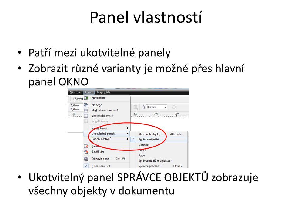 Paleta barev Paletu barev je možné vybrat ve stejné části hlavního panelu, jako u panelu vlastností Pro začátečníky postačí VÝCHOZÍ PALETA