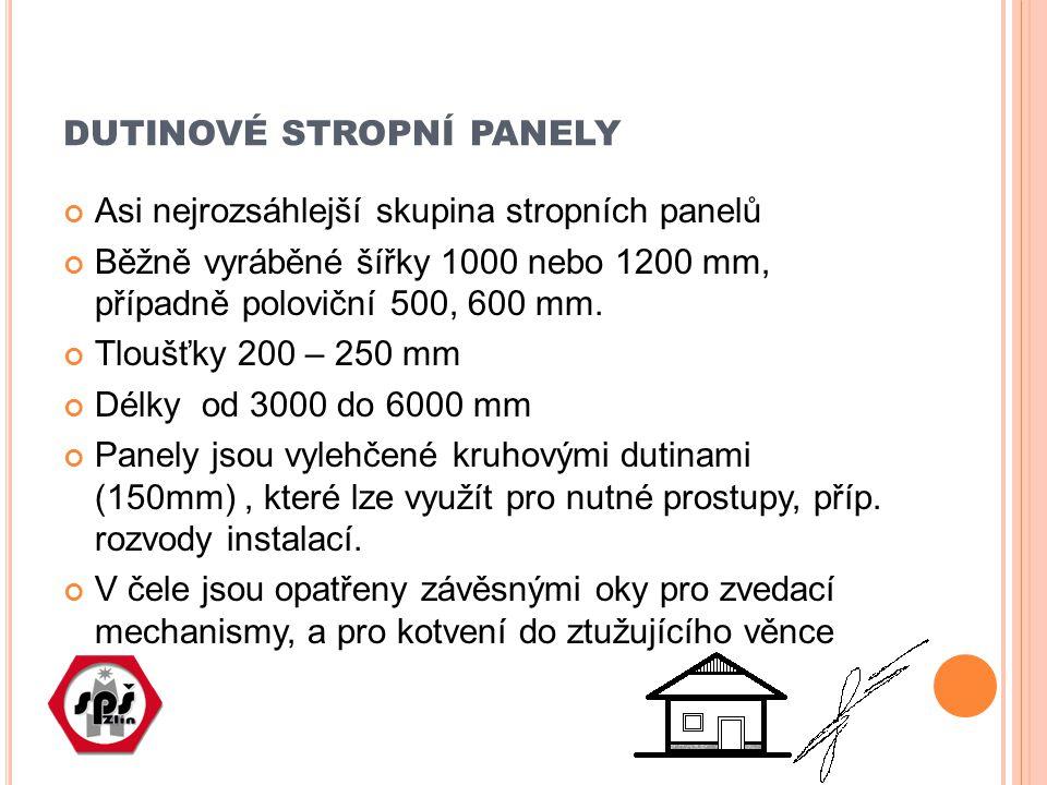 DUTINOVÉ STROPNÍ PANELY Asi nejrozsáhlejší skupina stropních panelů Běžně vyráběné šířky 1000 nebo 1200 mm, případně poloviční 500, 600 mm. Tloušťky 2