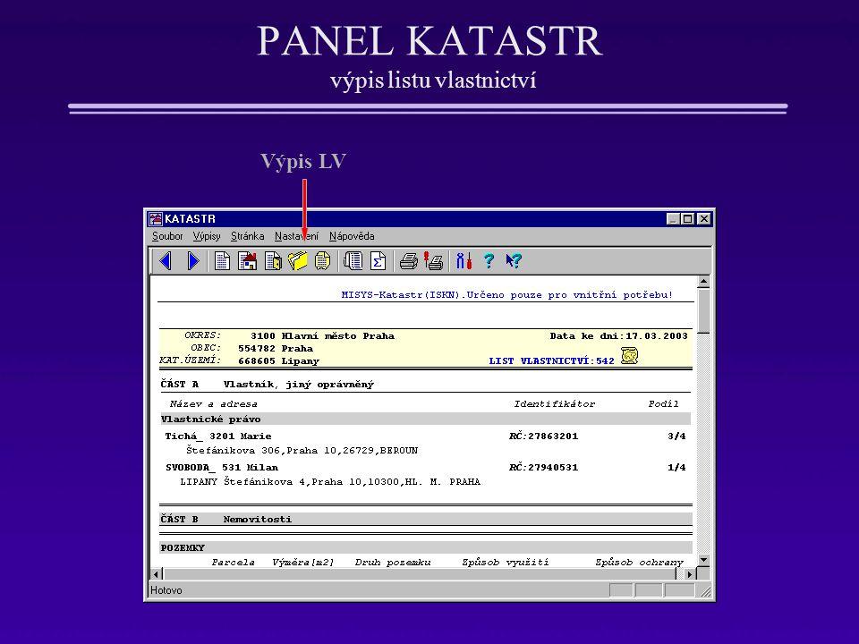 PANEL KATASTR výpis listu vlastnictví Výpis LV