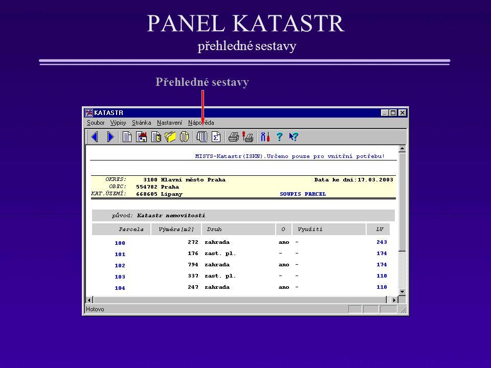 PANEL KATASTR přehledné sestavy Přehledné sestavy