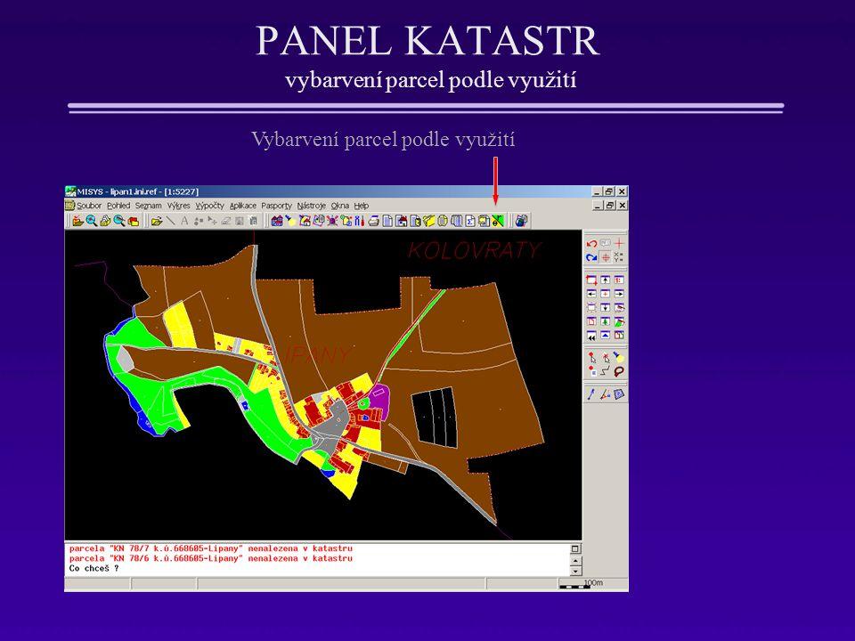 PANEL KATASTR vybarvení parcel podle využití Vybarvení parcel podle využití