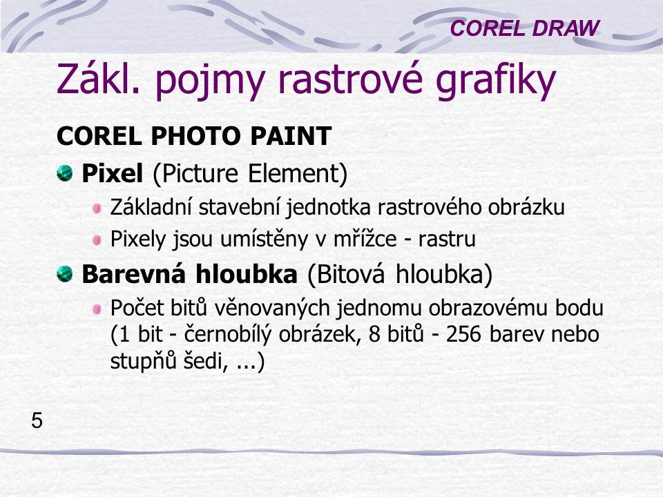 COREL DRAW 5 Zákl. pojmy rastrové grafiky COREL PHOTO PAINT Pixel (Picture Element) Základní stavební jednotka rastrového obrázku Pixely jsou umístěny