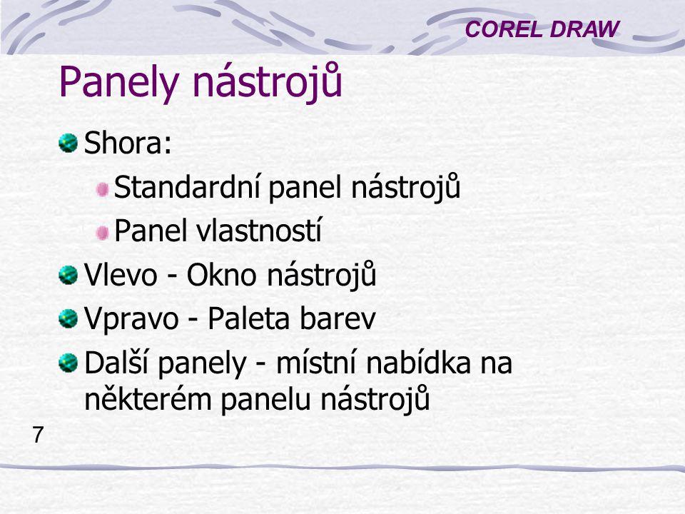 COREL DRAW 7 Panely nástrojů Shora: Standardní panel nástrojů Panel vlastností Vlevo - Okno nástrojů Vpravo - Paleta barev Další panely - místní nabíd