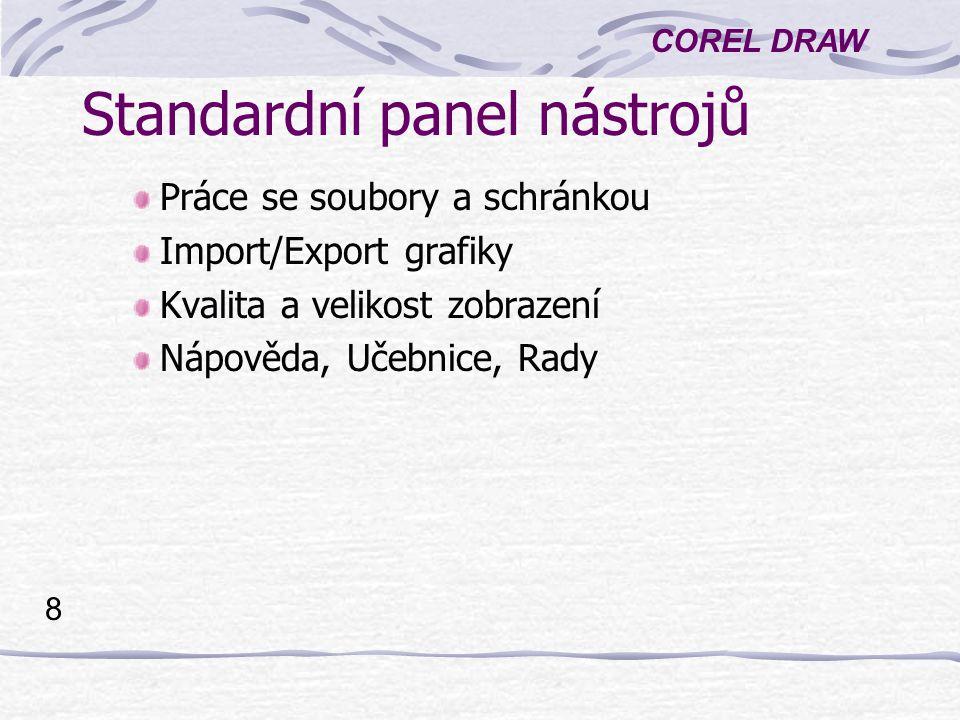 COREL DRAW 8 Standardní panel nástrojů Práce se soubory a schránkou Import/Export grafiky Kvalita a velikost zobrazení Nápověda, Učebnice, Rady