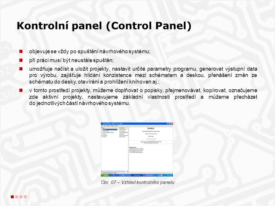 Kontrolní panel (Control Panel) objevuje se vždy po spuštění návrhového systému; při práci musí být neustále spuštěn; umožňuje načíst a uložit projekty, nastavit určité parametry programu, generovat výstupní data pro výrobu, zajišťuje hlídání konzistence mezi schématem a deskou, přenášení změn ze schématu do desky, otevírání a prohlížení knihoven aj.; v tomto prostředí projekty, můžeme doplňovat o popisky, přejmenovávat, kopírovat, označujeme zde aktivní projekty, nastavujeme základní vlastnosti prostředí a můžeme přecházet do jednotlivých částí návrhového systému.