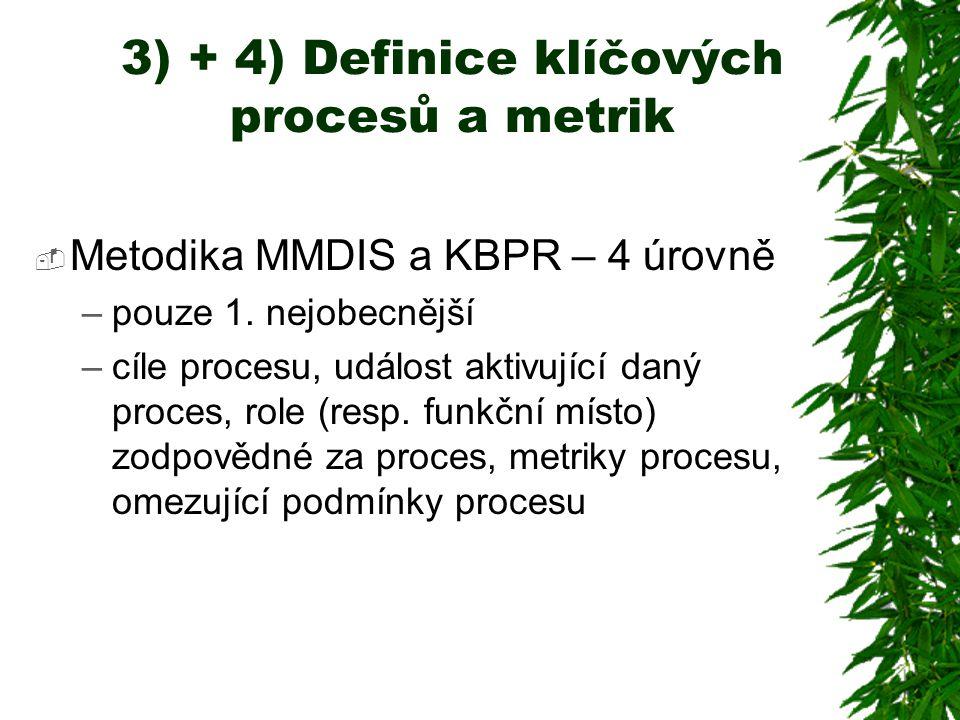 3) + 4) Definice klíčových procesů a metrik  Metodika MMDIS a KBPR – 4 úrovně –pouze 1. nejobecnější –cíle procesu, událost aktivující daný proces, r