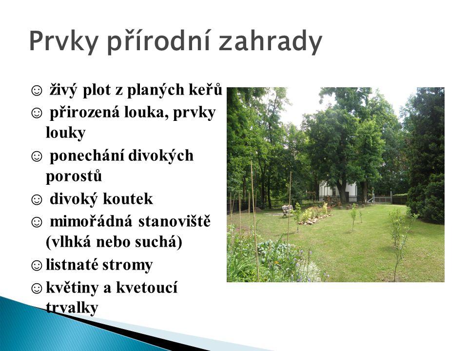 Prvky přírodní zahrady ☺ živý plot z planých keřů ☺ přirozená louka, prvky louky ☺ ponechání divokých porostů ☺ divoký koutek ☺ mimořádná stanoviště (