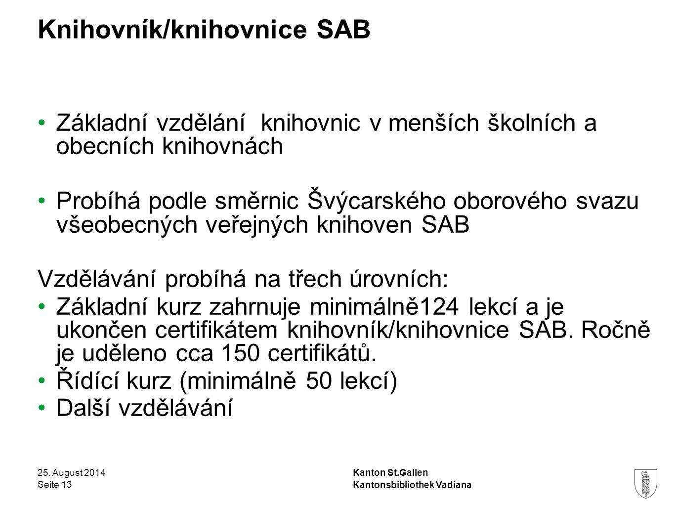 Kanton St.Gallen Knihovník/knihovnice SAB 25.