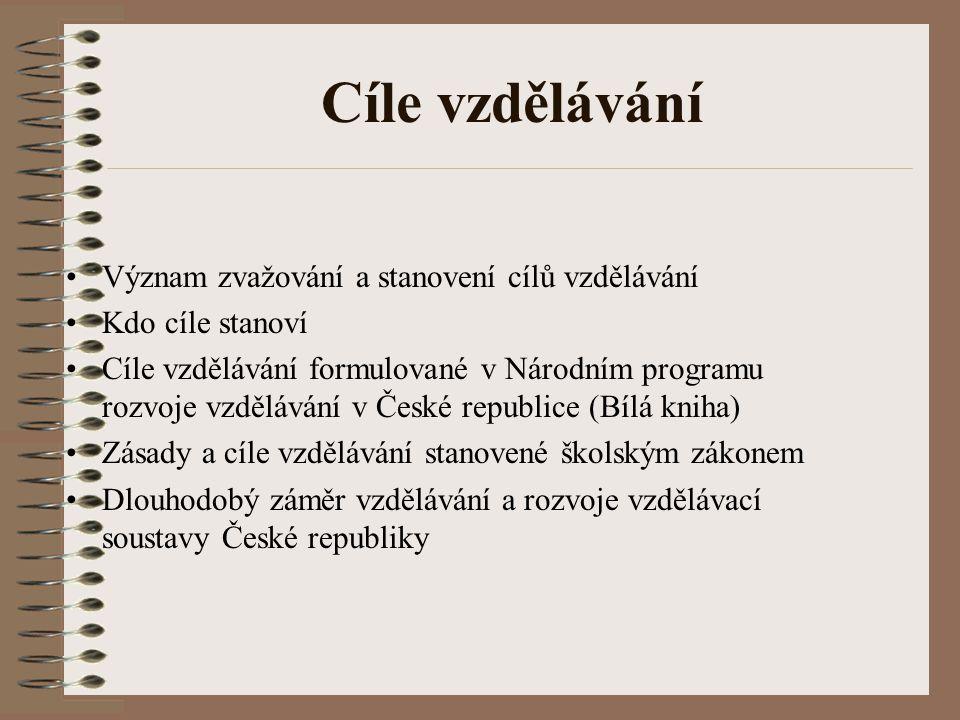 Cíle vzdělávání Význam zvažování a stanovení cílů vzdělávání Kdo cíle stanoví Cíle vzdělávání formulované v Národním programu rozvoje vzdělávání v Čes