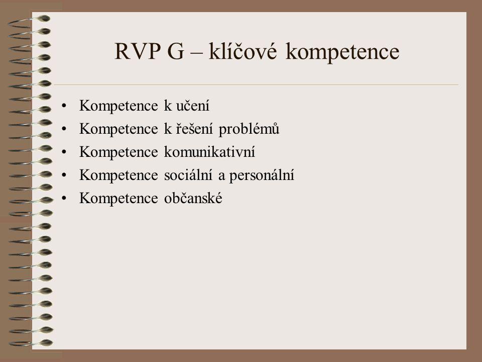 RVP G – klíčové kompetence Kompetence k učení Kompetence k řešení problémů Kompetence komunikativní Kompetence sociální a personální Kompetence občans