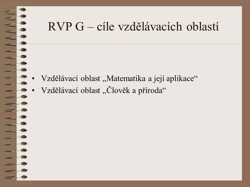 """RVP G – cíle vzdělávacích oblastí Vzdělávací oblast """"Matematika a její aplikace"""" Vzdělávací oblast """"Člověk a příroda"""""""