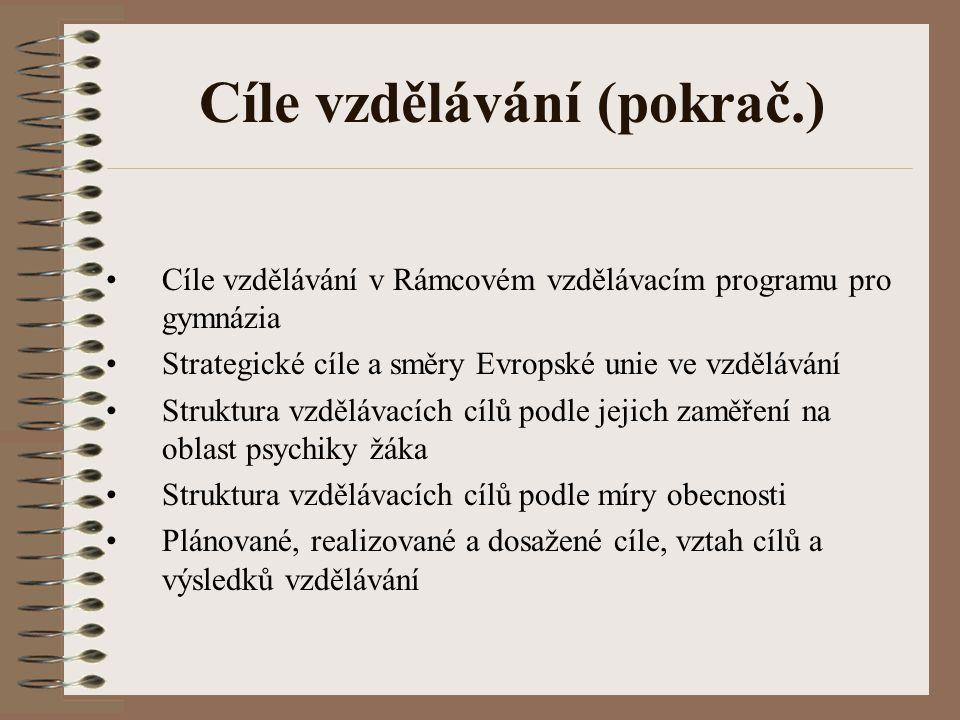 Cíle vzdělávání (pokrač.) Cíle vzdělávání v Rámcovém vzdělávacím programu pro gymnázia Strategické cíle a směry Evropské unie ve vzdělávání Struktura
