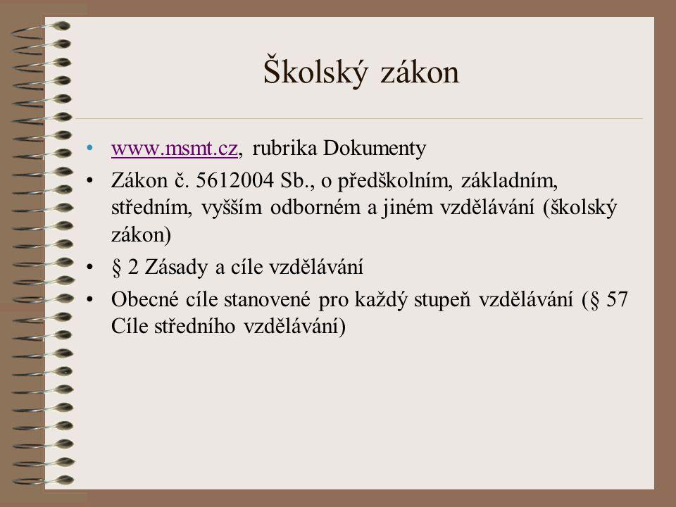 Školský zákon www.msmt.cz, rubrika Dokumentywww.msmt.cz Zákon č. 5612004 Sb., o předškolním, základním, středním, vyšším odborném a jiném vzdělávání (