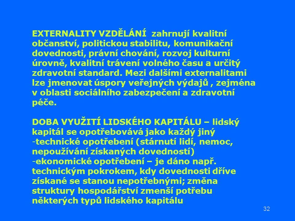 32 EXTERNALITY VZDĚLÁNÍ zahrnují kvalitní občanství, politickou stabilitu, komunikační dovednosti, právní chování, rozvoj kulturní úrovně, kvalitní tr