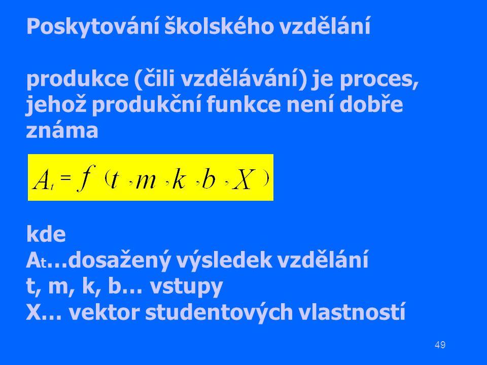 49 Poskytování školského vzdělání produkce (čili vzdělávání) je proces, jehož produkční funkce není dobře známa kde A t …dosažený výsledek vzdělání t,