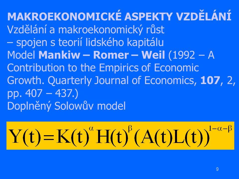 9 MAKROEKONOMICKÉ ASPEKTY VZDĚLÁNÍ Vzdělání a makroekonomický růst – spojen s teorií lidského kapitálu Model Mankiw – Romer – Weil (1992 – A Contribut