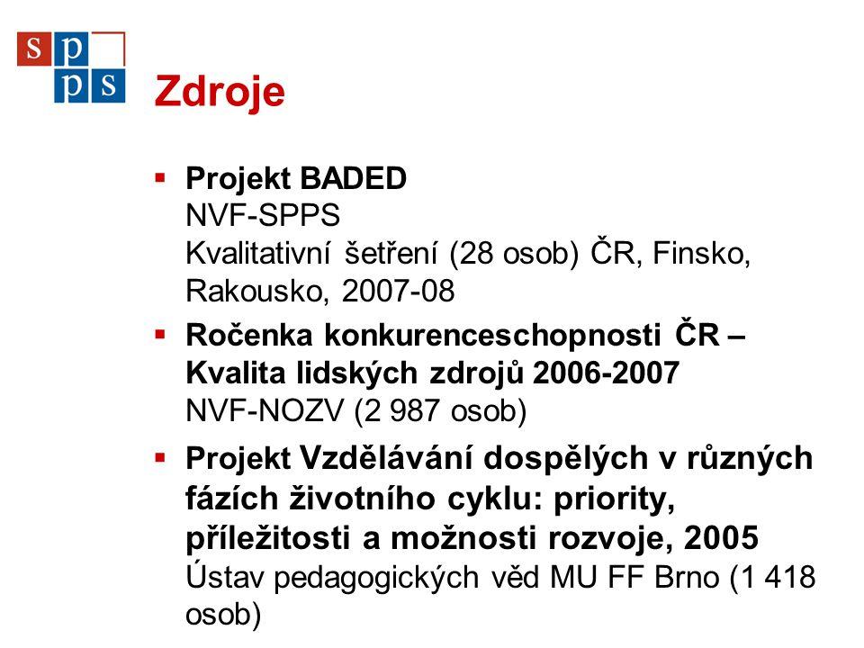 Zdroje  Projekt BADED NVF-SPPS Kvalitativní šetření (28 osob) ČR, Finsko, Rakousko, 2007-08  Ročenka konkurenceschopnosti ČR – Kvalita lidských zdrojů 2006-2007 NVF-NOZV (2 987 osob)  Projekt Vzdělávání dospělých v různých fázích životního cyklu: priority, příležitosti a možnosti rozvoje, 2005 Ústav pedagogických věd MU FF Brno (1 418 osob)