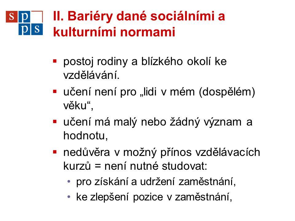 II. Bariéry dané sociálními a kulturními normami  postoj rodiny a blízkého okolí ke vzdělávání.