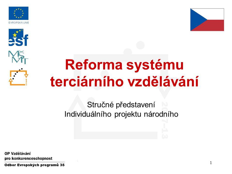 Reforma systému terciárního vzdělávání Stručné představení Individuálního projektu národního 1