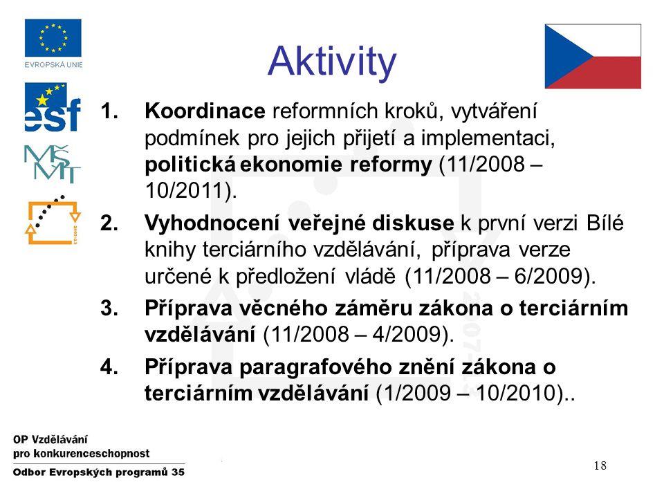 Aktivity 1.Koordinace reformních kroků, vytváření podmínek pro jejich přijetí a implementaci, politická ekonomie reformy (11/2008 – 10/2011).