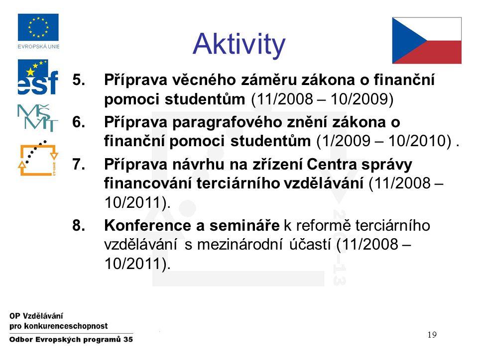Aktivity 5.Příprava věcného záměru zákona o finanční pomoci studentům (11/2008 – 10/2009) 6.Příprava paragrafového znění zákona o finanční pomoci studentům (1/2009 – 10/2010).