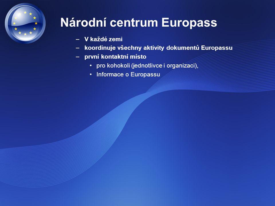 Národní centrum Europass –V každé zemi –koordinuje všechny aktivity dokumentů Europassu –první kontaktní místo pro kohokoli (jednotlivce i organizaci)