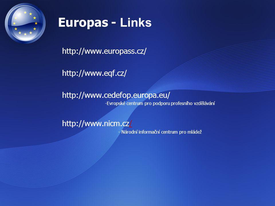 Europas - Links http://www.europass.cz/ http://www.eqf.cz/ http://www.cedefop.europa.eu/ -Evropské centrum pro podporu profesního vzdělávání http://ww