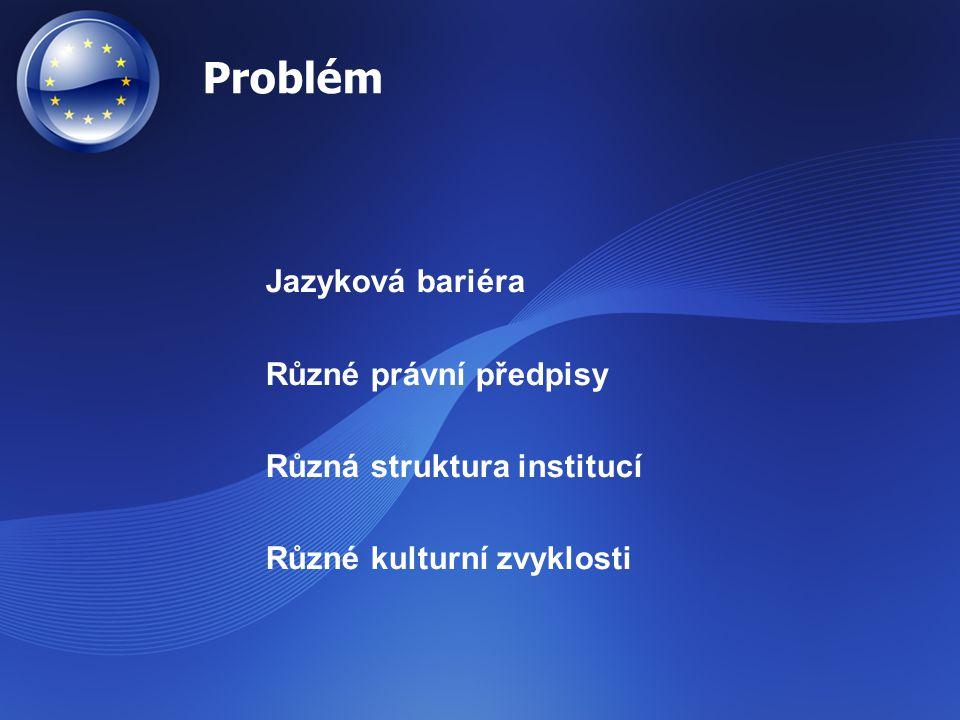 Problém Jazyková bariéra Různé právní předpisy Různá struktura institucí Různé kulturní zvyklosti