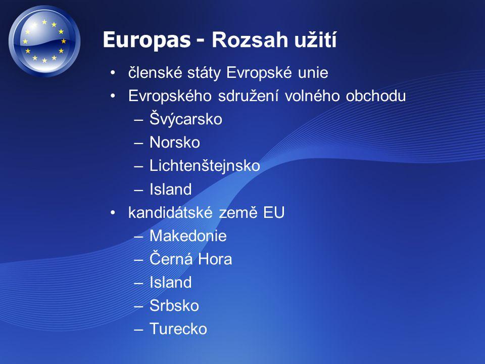 Europas - Rozsah užití členské státy Evropské unie Evropského sdružení volného obchodu –Švýcarsko –Norsko –Lichtenštejnsko –Island kandidátské země EU