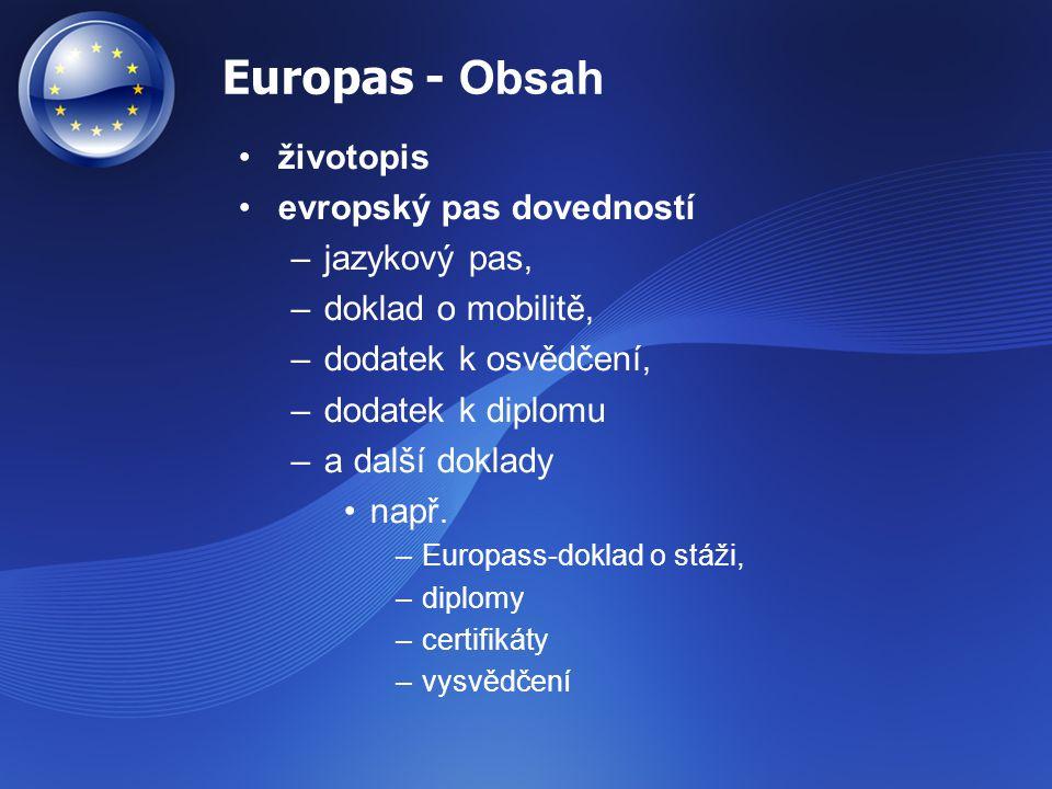 Europas - Obsah životopis evropský pas dovedností –jazykový pas, –doklad o mobilitě, –dodatek k osvědčení, –dodatek k diplomu –a další doklady např. –