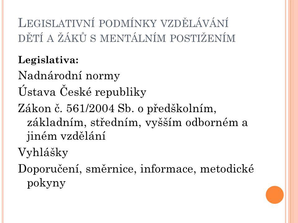 L EGISLATIVNÍ PODMÍNKY VZDĚLÁVÁNÍ DĚTÍ A ŽÁKŮ S MENTÁLNÍM POSTIŽENÍM Legislativa: Nadnárodní normy Ústava České republiky Zákon č. 561/2004 Sb. o před