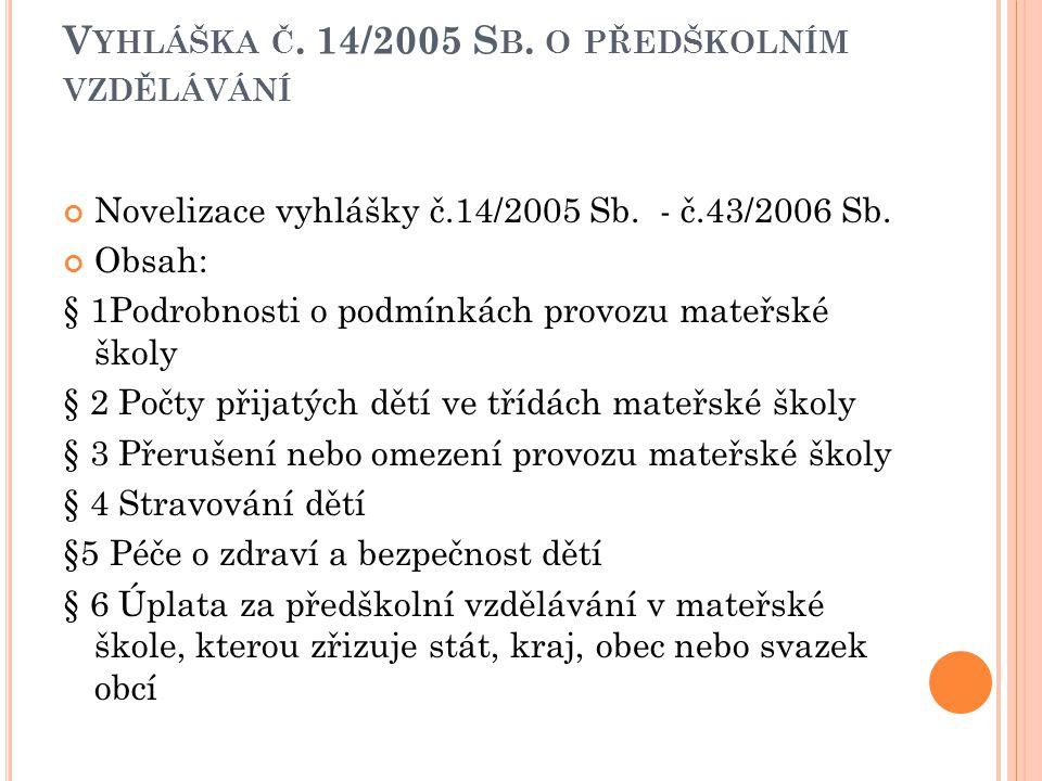 V YHLÁŠKA Č. 14/2005 S B. O PŘEDŠKOLNÍM VZDĚLÁVÁNÍ Novelizace vyhlášky č.14/2005 Sb. - č.43/2006 Sb. Obsah: § 1Podrobnosti o podmínkách provozu mateřs