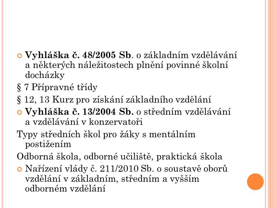 Vyhláška č. 48/2005 Sb. o základním vzdělávání a některých náležitostech plnění povinné školní docházky § 7 Přípravné třídy § 12, 13 Kurz pro získání