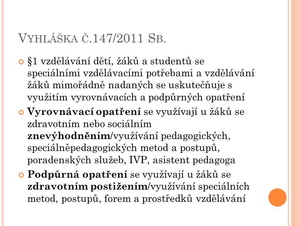 V YHLÁŠKA Č.147/2011 S B. §1 vzdělávání dětí, žáků a studentů se speciálními vzdělávacími potřebami a vzdělávání žáků mimořádně nadaných se uskutečňuj