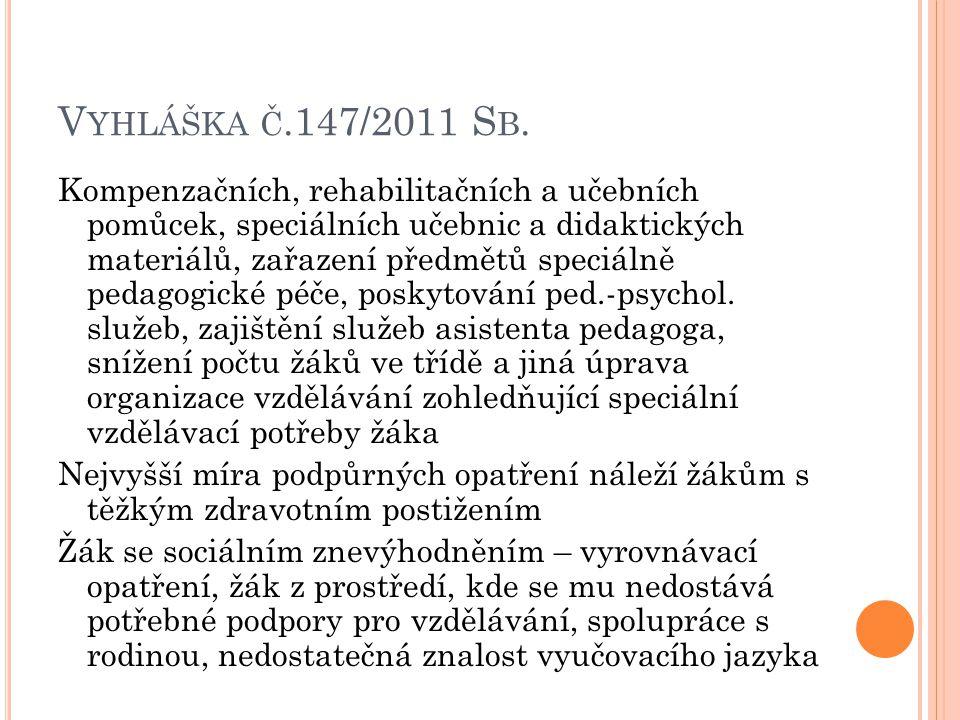 V YHLÁŠKA Č.147/2011 S B. Kompenzačních, rehabilitačních a učebních pomůcek, speciálních učebnic a didaktických materiálů, zařazení předmětů speciálně