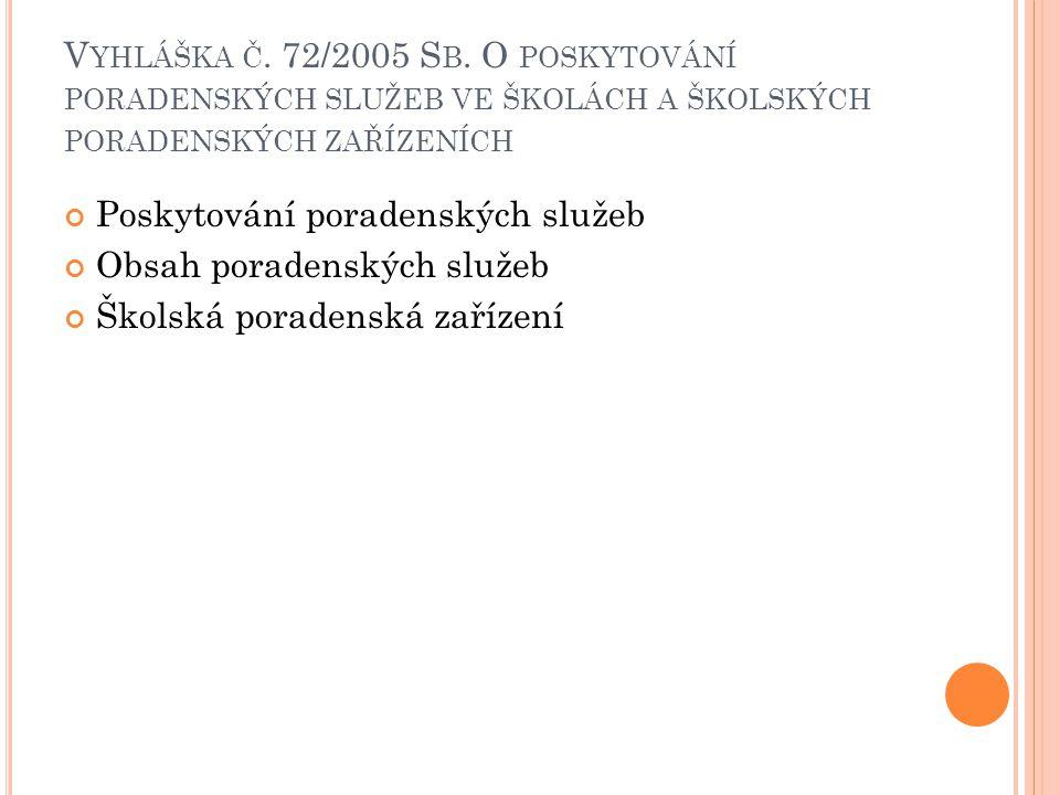 V YHLÁŠKA Č. 72/2005 S B. O POSKYTOVÁNÍ PORADENSKÝCH SLUŽEB VE ŠKOLÁCH A ŠKOLSKÝCH PORADENSKÝCH ZAŘÍZENÍCH Poskytování poradenských služeb Obsah porad