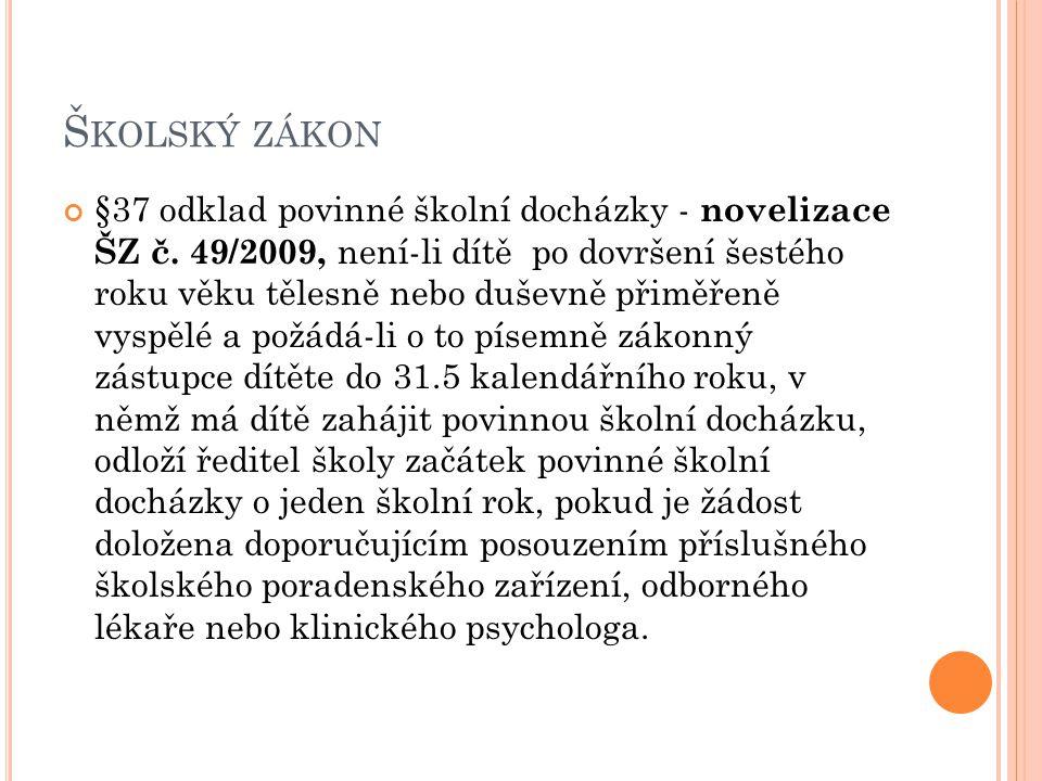 Š KOLSKÝ ZÁKON §37 odklad povinné školní docházky - novelizace ŠZ č.