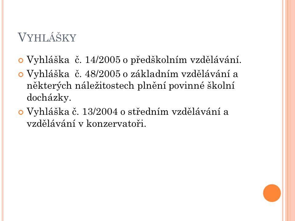 V YHLÁŠKY Vyhláška č. 14/2005 o předškolním vzdělávání. Vyhláška č. 48/2005 o základním vzdělávání a některých náležitostech plnění povinné školní doc