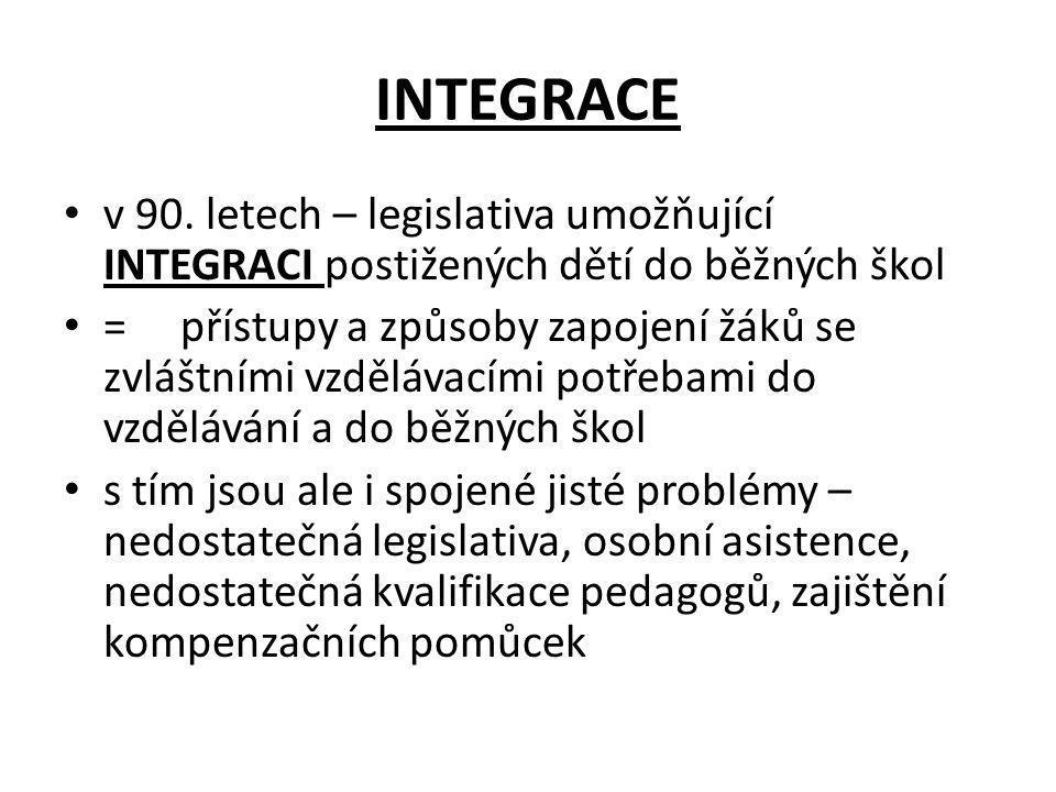 INTEGRACE v 90. letech – legislativa umožňující INTEGRACI postižených dětí do běžných škol = přístupy a způsoby zapojení žáků se zvláštními vzdělávací