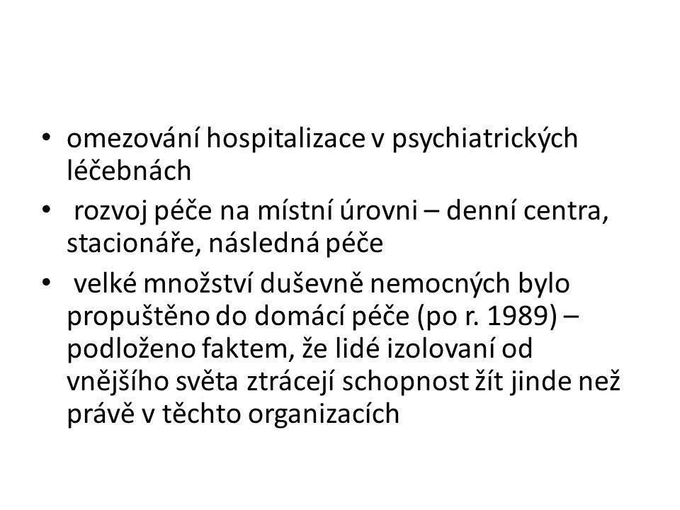 omezování hospitalizace v psychiatrických léčebnách rozvoj péče na místní úrovni – denní centra, stacionáře, následná péče velké množství duševně nemo