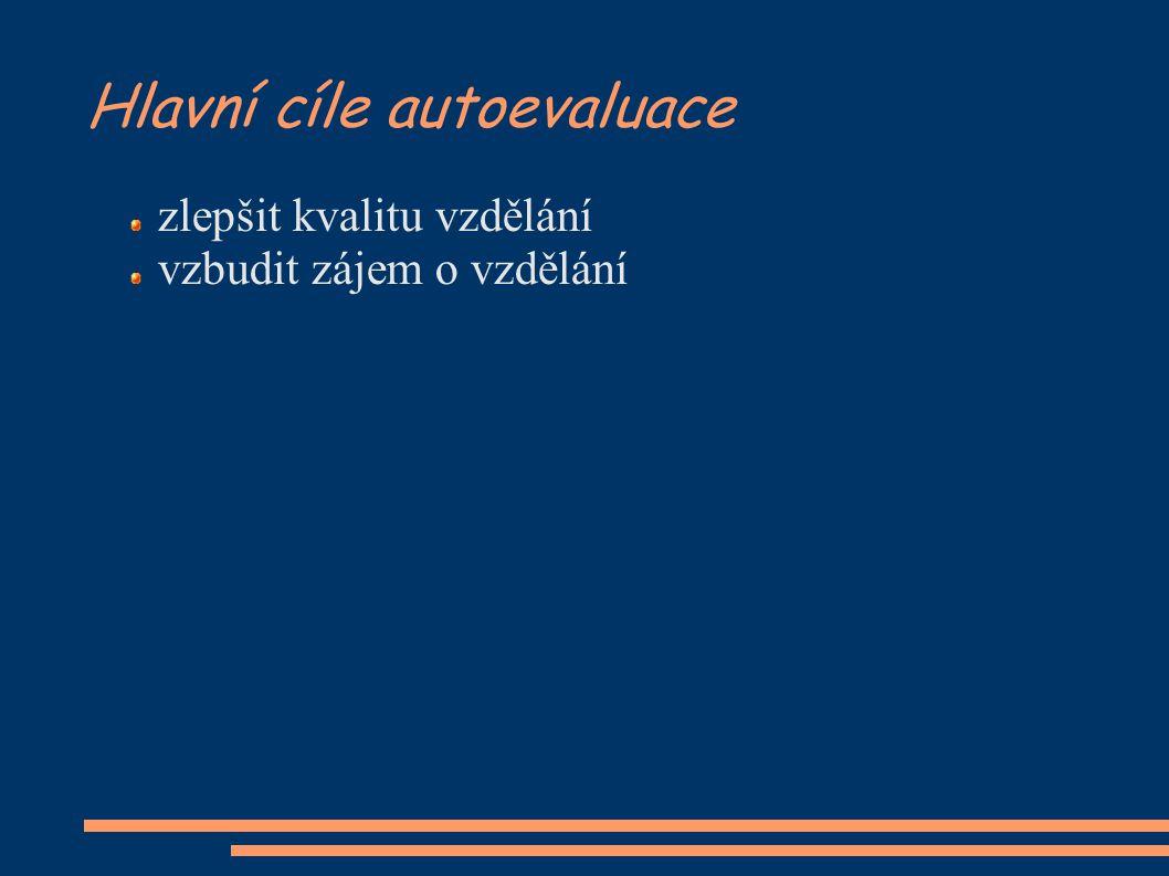Hlavní cíle autoevaluace zlepšit kvalitu vzdělání vzbudit zájem o vzdělání