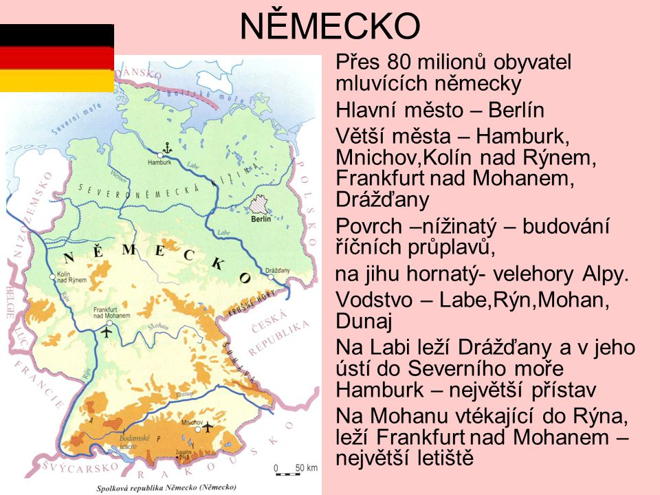 NĚMECKO Přes 80 milionů obyvatel mluvících německy Hlavní město – Berlín Větší města – Hamburk, Mnichov,Kolín nad Rýnem, Frankfurt nad Mohanem, Drážďany Povrch –nížinatý – budování říčních průplavů, na jihu hornatý- velehory Alpy.