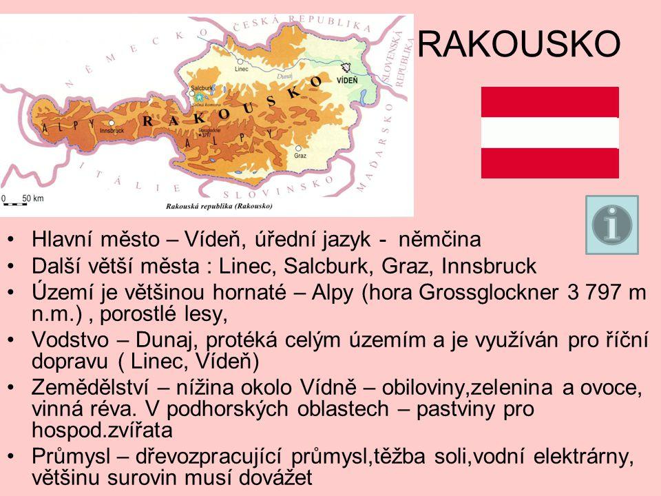 RAKOUSKO Hlavní město – Vídeň, úřední jazyk - němčina Další větší města : Linec, Salcburk, Graz, Innsbruck Území je většinou hornaté – Alpy (hora Grossglockner 3 797 m n.m.), porostlé lesy, Vodstvo – Dunaj, protéká celým územím a je využíván pro říční dopravu ( Linec, Vídeň) Zemědělství – nížina okolo Vídně – obiloviny,zelenina a ovoce, vinná réva.