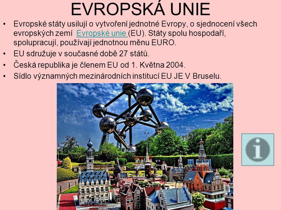 EVROPSKÁ UNIE Evropské státy usilují o vytvoření jednotné Evropy, o sjednocení všech evropských zemí Evropské unie (EU).
